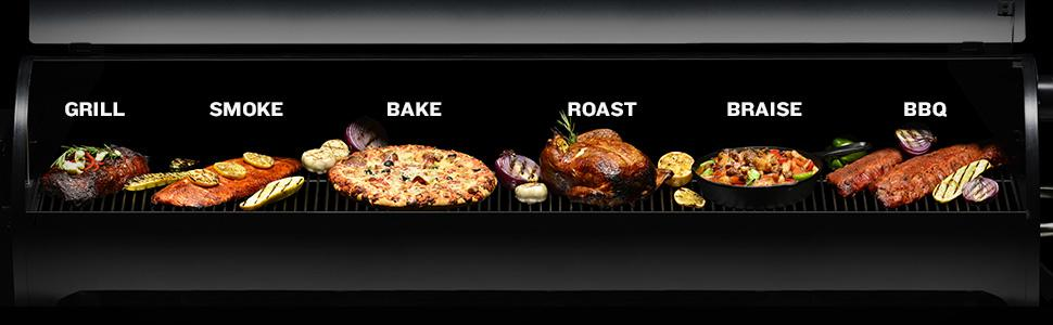 Pellet grills can smoke, bake, roast, braise and bbq.